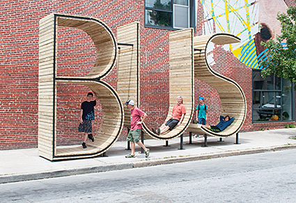 Bus stop in Baltimore, by Mmmm